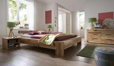 Traumhaft Schlafen im Balkeneiche Bett ALBA hier Balken aus Eiche als Kopfteil. Drei Holzfarbtöne, ab 140 cm online bestellen.