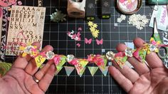 This video is a tutorial showing you how I made my Banners for spring and Easter embellishment swaps. Vintage Scrapbook, Diy Scrapbook, Diy Banner, Banner Ideas, Baby Mini Album, Easter Banner, Halloween Scrapbook, Paper Banners, Pocket Scrapbooking