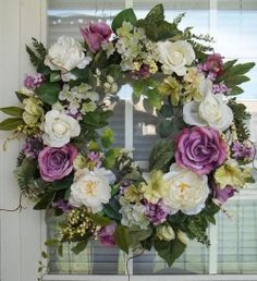 """SPRING GARDEN"" - Vintage Chic Shabby Spring/Summer Wreath Decoration by DecorClassicFlorals, $149.95"