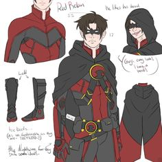 """""""Jason's still weirdly colorful, Tim's still short, and Dick's still poofy, everything is perfectly in order. I love that I'm calling Tim short but he's less than half an inch shorter. Superhero Suits, Superhero Characters, Dc Comics Characters, Tim Drake Red Robin, Robin Dc, Batman Comic Art, Batman Comics, Gotham Batman, Batman Robin"""