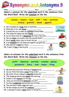 Synonyms vs Antonyms 9