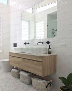 New Wood Tile Bathroom Tub Vanities 24 Ideas Laundry In Bathroom, White Bathroom, Bathroom Small, Bathroom Storage, Vanity Bathroom, Double Sink Bathroom, Bathroom Tubs, Bathroom Baskets, Stone Bathroom