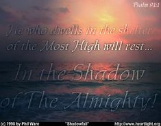 Day 172 (June 21)  He who dwells in the shelter of the Most High will rest in the Shadow of the Almighty.  - Psalm 91:1