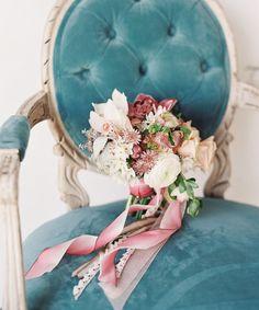 blush florals + teal chair