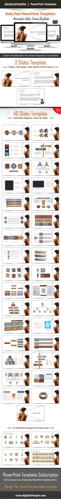 Impress and Engage your audience with Body Pain PowerPoint Template and Body Pain PowerPoint Backgrounds from DigitalOfficePro. Each template comes with a set of PowerPoint Diagrams, Charts & Shapes and are available for instant download.