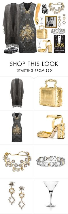 """""""Themed Company Christmas Party, Now To Convince Work The Outfit I Want To Buy Is A Reimbursable Business Expense"""" by sharee64 ❤ liked on Polyvore featuring Damsel in a Dress, Dolce&Gabbana, Roberto Cavalli, Alexis Bittar, Lulu Frost, James Bond 007, Aston Martin, Napoli and Louis Vuitton"""
