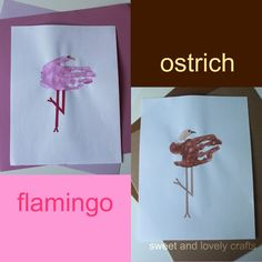 sweet and lovely crafts: handprint flamingos & ostriches
