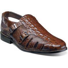 Men's Stacy Adams Seneca Fisherman Sandal 25169 Cognac (Red) Leather (US Men's 8 M (Regular)) Burberry Men, Gucci Men, Mens Shoes Boots, Shoe Boots, Formal Shoes, Casual Shoes, Casual Wear, Leather Sandals, Men Sandals