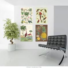 Tropical Birds and Plants Tiki Vintage Style Poster Set of Retro Living Rooms, Living Room Decor, Vintage Artwork, Vintage Posters, Poster Hanging, Vintage Style, Vintage Fashion, Tropical Birds, Vintage Ephemera