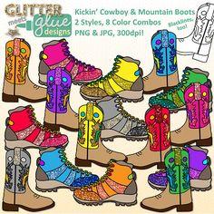 Kickin' Cowboy & Mountain Boots Clipart W/Glitter! #TPT #clipart #graphics #illustration #education #teaching