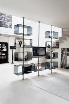 le meuble Domino avec étagères en verre
