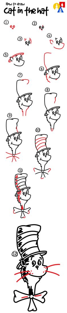 How to draw The Cat In The Hat!