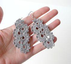 Gray Crocheted Earrings - Crescent Moon. $13,00, via Etsy.