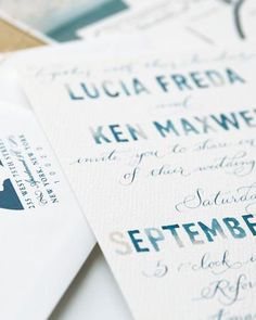 Watercolor Invitation    For a subtle way to channel the sea, opt for this hand-painted watercolor invite that mimics various shades of ocean blue. jill gordon celebrate wedding in the Hamptons
