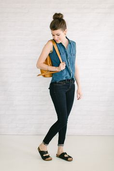 Sleeveless Chambray Skinny Jeans Birks:from the blog Unfancy--best capsule wardrobe use I've seen in ages!