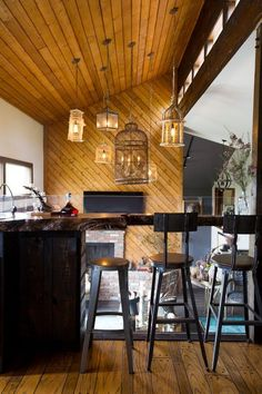 complementing the ceiling and modern paneling