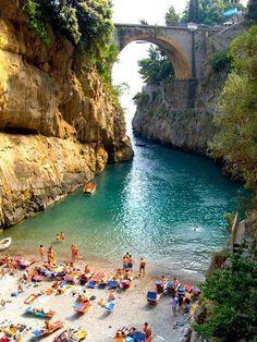 Beautiful Beach near the Town of Furore in the Coast of Amalfi, Italy