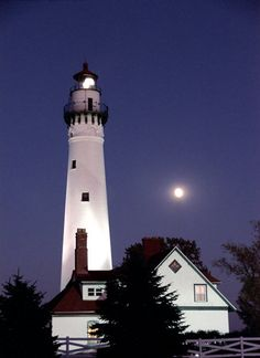 Wind Point Lighthouse in the evening near Racine, Wisconsin.