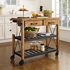 This Industrial Kitchen Cart from Crosley recalls the relaxed lifestyle of French Wine country. Its rustic design is reflective of a time when recycling wasn't a societal choice, but a way of life.