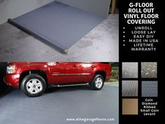 G Floor Vinyl Roll Out Floor Covering. Install wall to wall or just enough to park on. Made in USA, Easy DIY, many patterns to choose from. Vinyl Garage Flooring, Garage Floor Mats, Floor Edging, G Floor, Vinyl Roll, Vinyl Floor Covering, Better Life, Easy Diy, Diy Projects