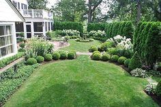 beautiful white & green beds in yard with formal elements