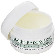 Mario Badescu hyaluronic eye cream::super-moisturizing and affordable, I can't live without this stuff. At MB you pay for the product, not packaging or ad campaigns. $18