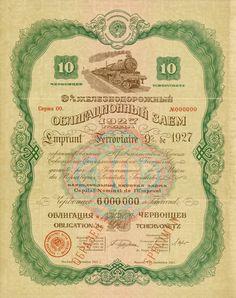 """Railway Bond Loan of 1927, Moskau, 01.09.1927, Muster einer 9%-Eisenbahn-Anleihe über 10 Chervonetz, nullgeziffert, Serie 00, 33,1 x 26,5 cm, grün, braun, türkis, rosa, blau, beige, Zugvignette, roter Aufdruck """"Specimen"""", zwei Knickfalten quer, KB hängt an, Russisch, Englisch. Absolute Rarität!"""