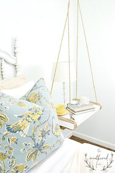 Hanging Nightstand DIY. Farmhouse Style Nightstand for $10. Joanna often uses these style nightstands in her fixer upper houses. Use them for nightstands, hanging shelves, hanging tables. 2x4 project, easy DIY project.
