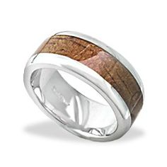 Don's Wedding Band 8mm Sterling Silver Band with Koa Wood* Inlay (Size 7-13 Available) - Koa Inlay Jewelry - Collections