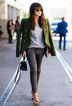 Drape your military jacket over your shoulder for an effortless fashion editor style!