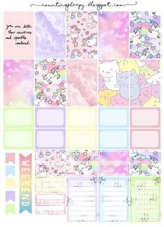 Free Printable Unicorn Paradise Planner Stickers from Counting Sheepy pastel unicorns and cats with rainbow theme banners, ticklists, frames Planner 2018, To Do Planner, Free Planner, Planner Pages, Happy Planner, Planner Ideas, Planner Inserts, Wash Tape, Planer Organisation