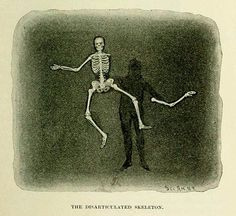 """The disarticulated skeleton magic trick explained in this vintage illustration from """"Magic; Stage Illusions and Scientific Diversions, Including Trick Photography"""" (1897) written by Albert Allis Hopkins and Henry Ridgely Evans."""