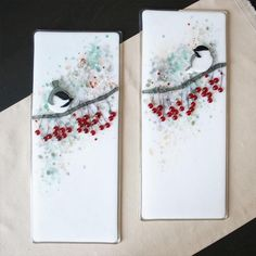 "Niven Glass Originals Chickadees with Winterberry Kiln formed wall art featuring chickadees and winterberry. Original design requiring multiple firings. Each piece measures 6"" X 14"". - Delphi Artist Gallery"