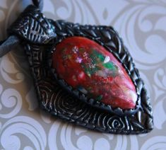 Pendant cabochon Gift for women Handmade jewelry Polymer clay