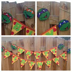 Teenage Mutant Ninja Turtles Banner, TMNT Banner, Birthday Banner, Burlap Banner by AllThingsareBrite on Etsy