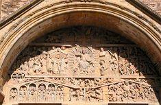 Timpano del Juicio Final en Conques, pertenece al románico y se empezó a construir en 1107 Pyrenees, Finals, Bonito, Stop Staring, Romanesque Art, Art History, France, Final Exams