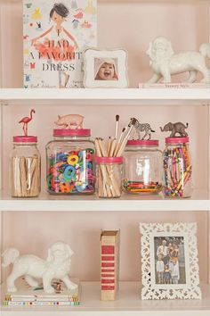 decorate the tops of jars with animals...
