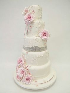 Pink and Silver Vintage Wedding Cake