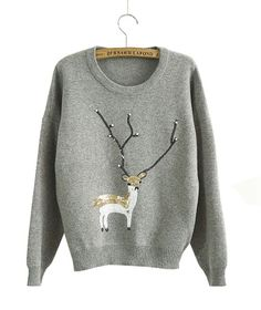 KSJK Women's Fashion Reindeer Christmas Jumper Crew Neck Pullover Sweater