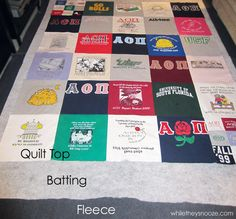 How to make a Tshirt quilt-obviously by a Gamma Theta chapter AOTT. Awesome!
