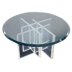 Lucite Base, Glass-Top Coffee Table