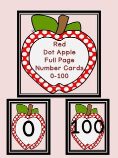 Here is a large full page set of red dot apple number cards 0-100 that can be used at the beginning of the school year or anytime.