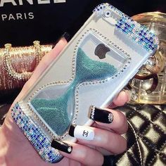 Luxury Bling Handmade Crystal Diamond Rhinestone Case Cover For iPhone 6 Plus 5.5inch Hourglass Sandy Clock Quicksand Clear Case