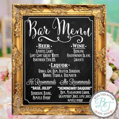 Wedding Chalkboard Sign Bar Menu Personalized by BeauTiedAffair