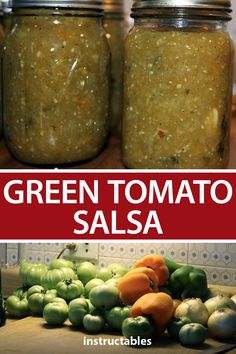 Make up a tasty batch of green tomato salsa using green tomatoes along with green, red, and yellow bell peppers. Canning Green Tomatoes, Green Tomato Relish, Green Tomato Recipes, Canning Vegetables, Recipe For Green Tomato Salsa, Green Salsa Recipes, Recipes With Green Peppers, Pickled Green Tomatoes, Veggies