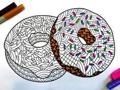 Doughnuts PDF Zentangle Coloring Page by DJPenscript on Etsy