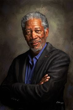 This is a digital painting of Morgan Freeman. Portrait of Morgan Freeman Celebrity Drawings, Celebrity Portraits, Digital Portrait, Portrait Art, Digital Art, Morgan Freeman, Photo D Art, Famous Faces, Painting & Drawing