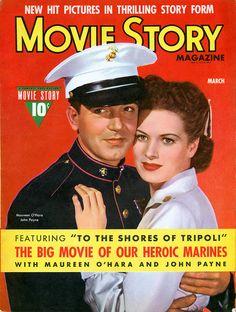 March 1942 Movie Story magazine with Maureen O'Hara and John Payne
