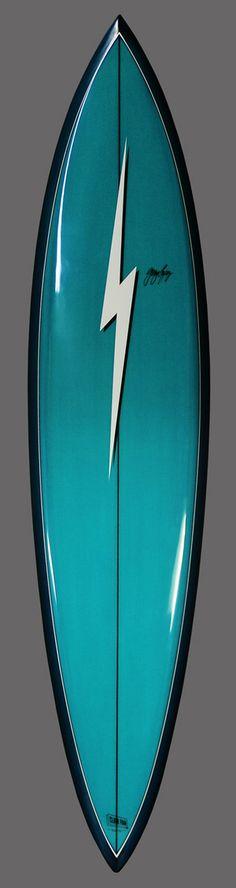 Lopez Blue & Turqouis Bolt Pintail e-mail. Surfboard Skateboard, Surfboard Painting, Surfboard Shapes, Lightning Bolt Logo, Vintage Surfboards, Longboard Design, Surf Design, Life Aquatic, Surf Shack