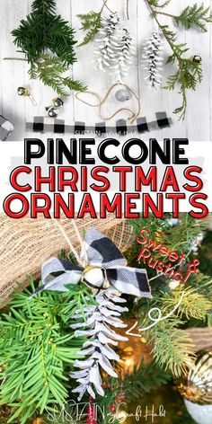 A nature-inspired DIY for making pretty painted pinecone Christmas ornaments using Eastern white pinecones and fresh greenery. #sustainmycrafthabit Diy Christmas Decorations For Home, Christmas Craft Projects, Christmas Crafts For Kids To Make, Diy Christmas Ornaments, Rustic Christmas, Simple Christmas, Pinecone Ornaments, Nativity Ornaments, Ornament Crafts